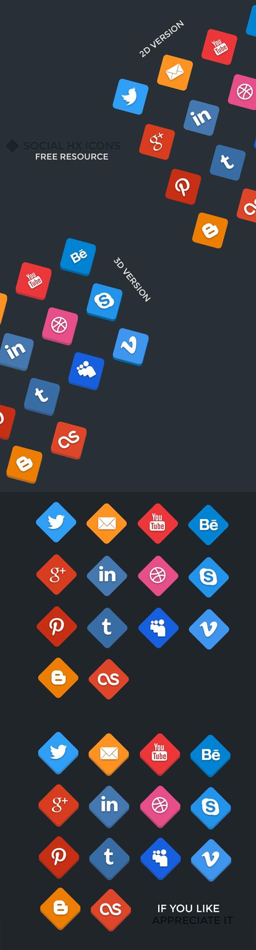 Social HX Icons - 2D/3D