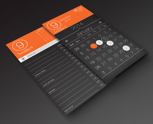 Calendar App UI and Task Page PSD