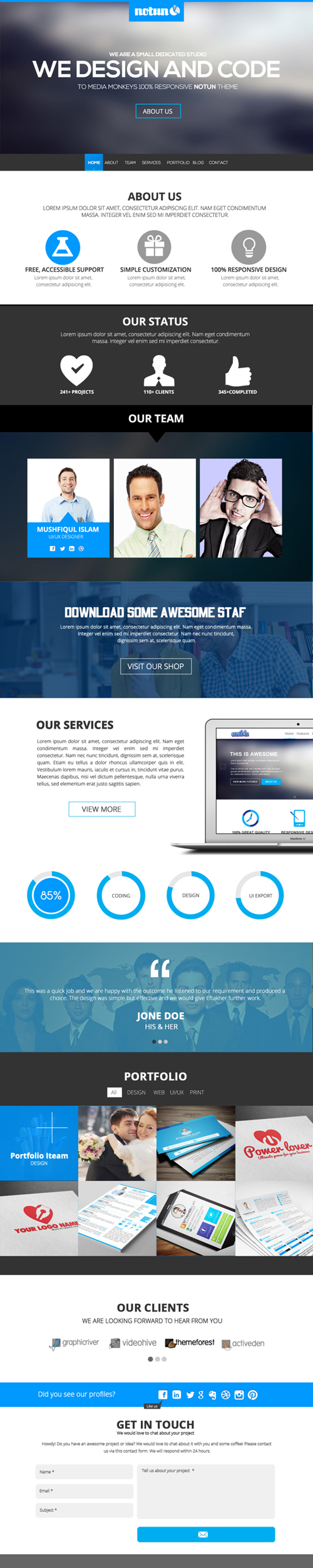 One page psd web template free download