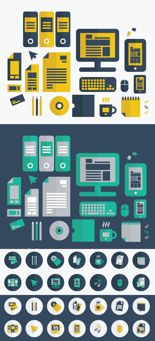 Flat Graphic Design Icon Set