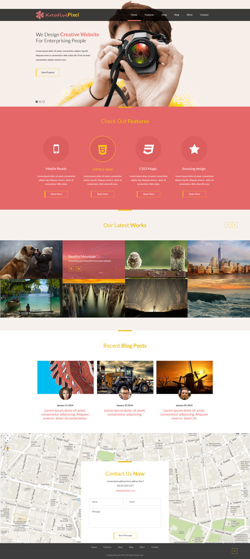 Free WIP HTML5 Template PSD