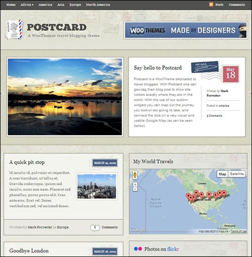 postcard wp theme