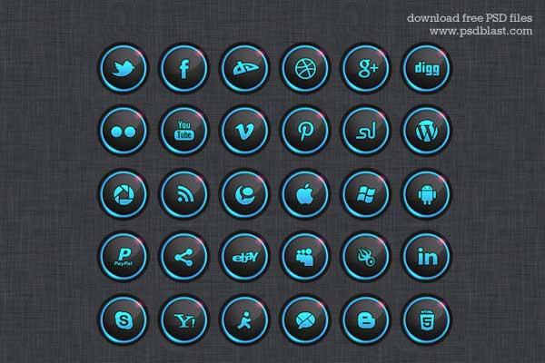 30 Free Social Media Icon Sets (PSD)