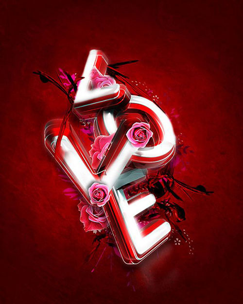 3d valentine s day typography exclusive tutorial2 Valentine Design