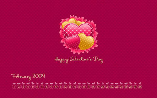February Calendar Wallpaper Valentine Design