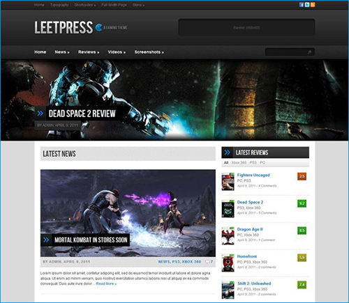 LeetPress - A Gaming WordPress Theme
