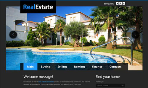 free html5 css3 templates Real Estate