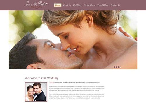 free html5 css3 templates Wedding Site