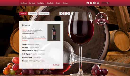 free html5 css3 templates Wine-Winery