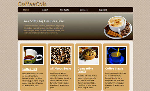 Coffee Shop HTML5 and CSS3  Style Template