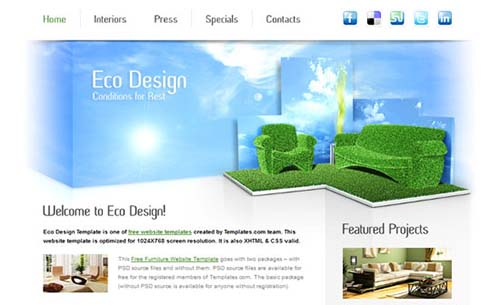 Furniture Website Template for Eco Design Company