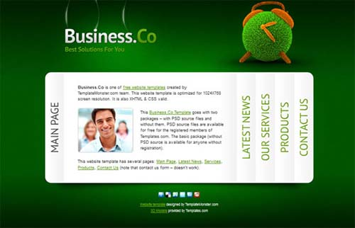 Business Website Template with Accordion Navigation