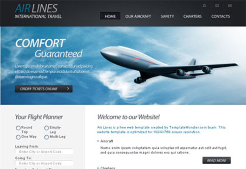 HTML5 website template for airline company