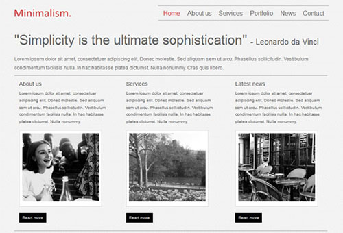 Minimalism HTML5 and CSS3 Template