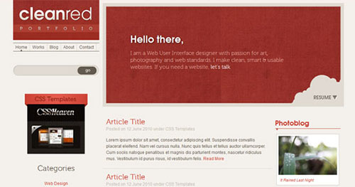 Website Template - Clean Red