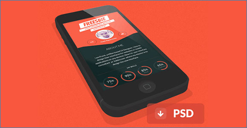 iPhone flat 3D PSD mockups