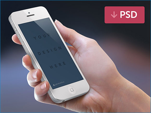 iPhone + hand PSD mockup