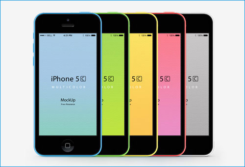mockup of iPhone 5C in different colors