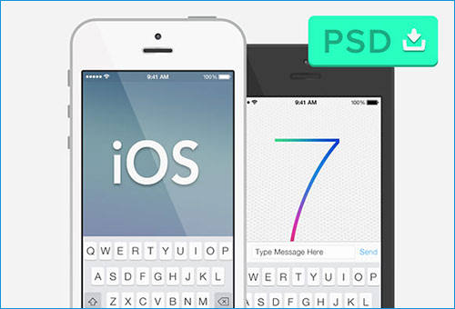 "iOS 7 & ""Semi-Flat"" iPhone 5 Mockup"