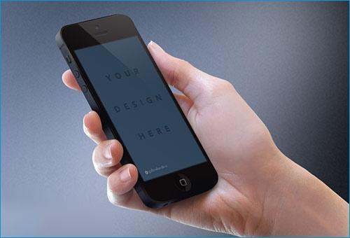 iPhone black Mockup in hand