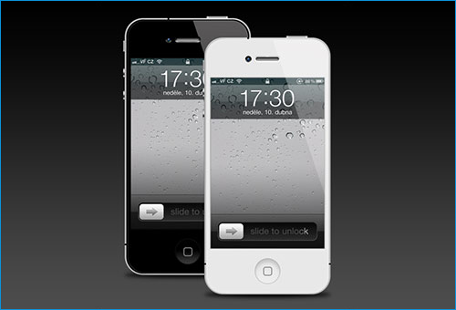 iPhone 4 black and white mockup