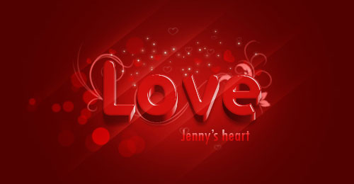 Sweet Red 3D Love Text Effect